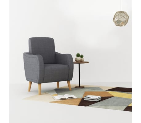 vidaXL Fotoliu, gri deschis, material textil[1/8]