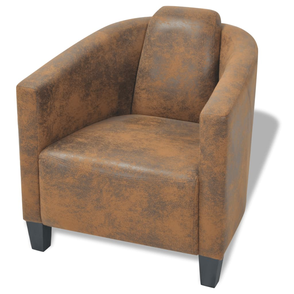 vidaXL Fotel, brązowy, tkanina