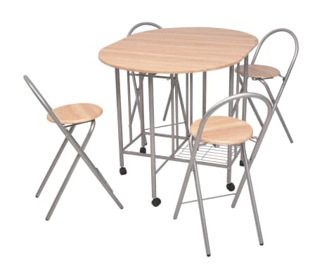 Stylish Five Piece Folding Dining Table and Chair Set Kitchen Furniture MDF UK