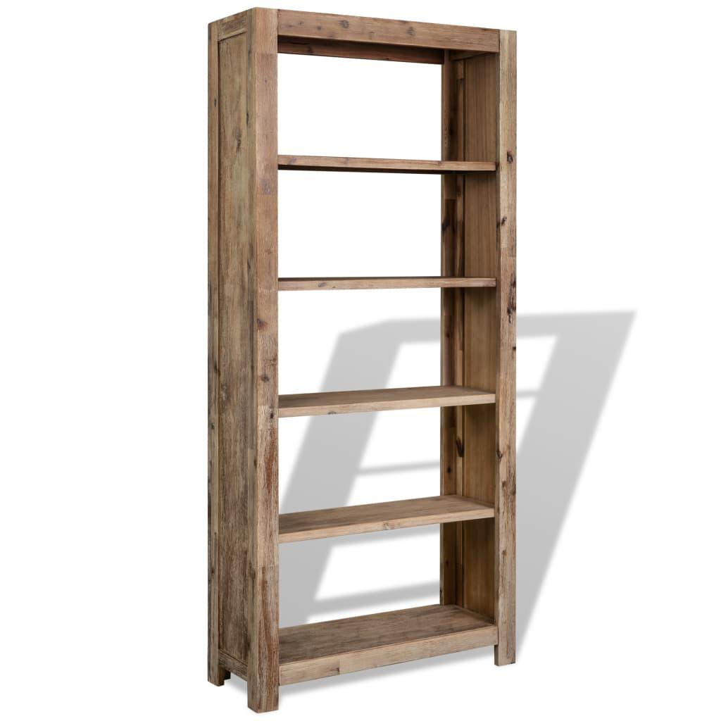 vidaXL Knihovna s 5 policemi masivní akáciové dřevo 80x30x180 cm