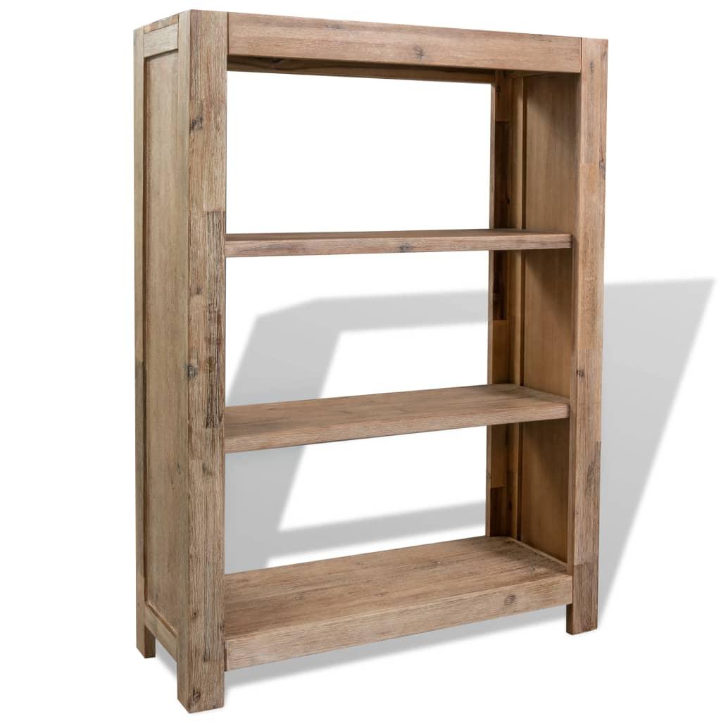 Knihovna se 3 policemi masivní akáciové dřevo 80x30x110 cm