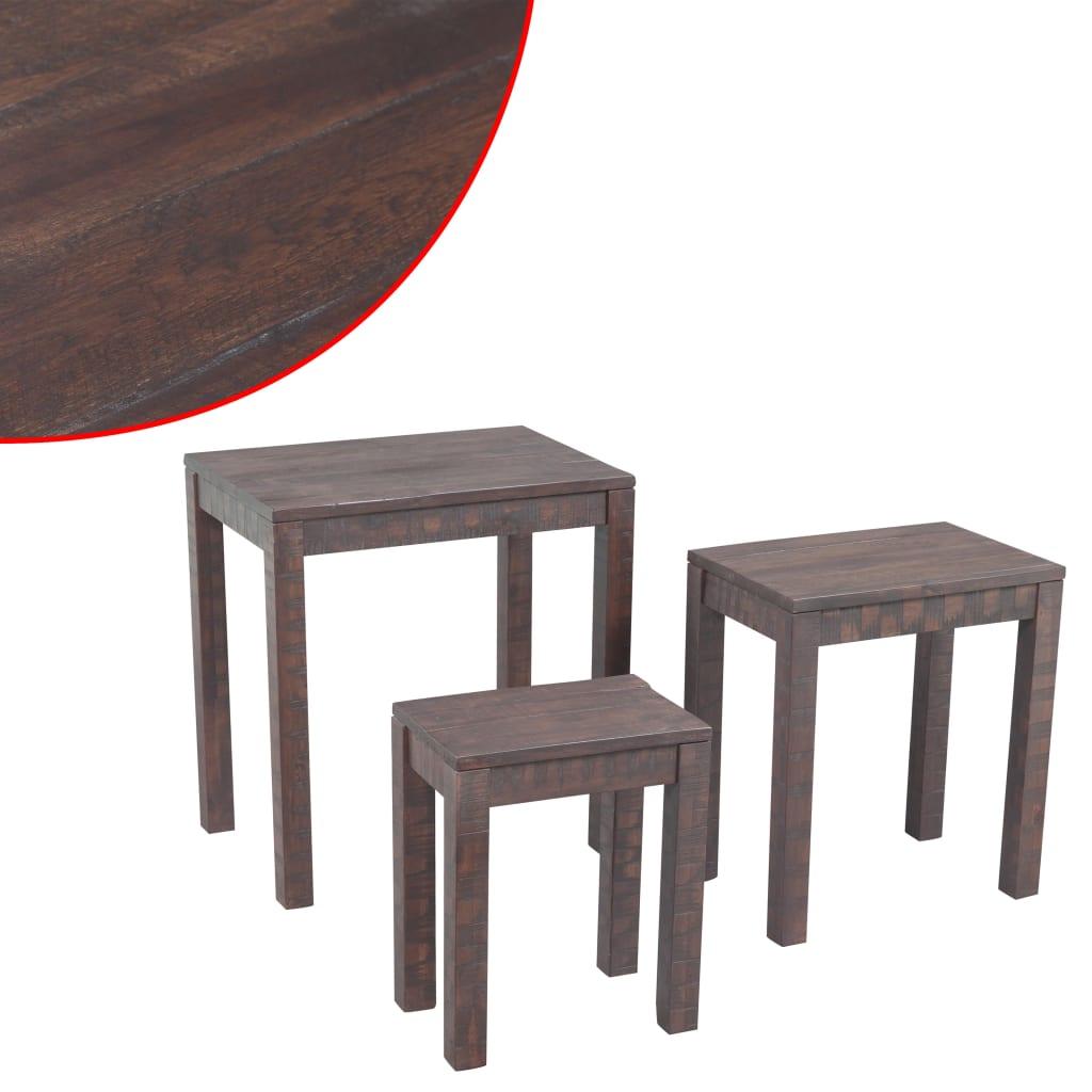 99243908 3-tlg. Tisch-Set Massives Akazienholz Stapelbar Tabakfarben