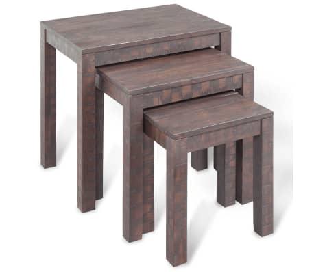 vidaXL 3 sustumiami staliukai, masyvi akacijos mediena[2/6]