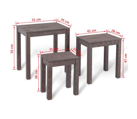 vidaXL 3 sustumiami staliukai, masyvi akacijos mediena[6/6]