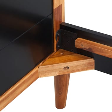 "vidaXL Bed Frame Black Solid Acacia Wood 78.7""x55.1""[5/6]"