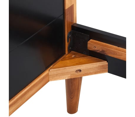"vidaXL Bed Frame Black Solid Acacia Wood78.7""x70.9""[5/6]"
