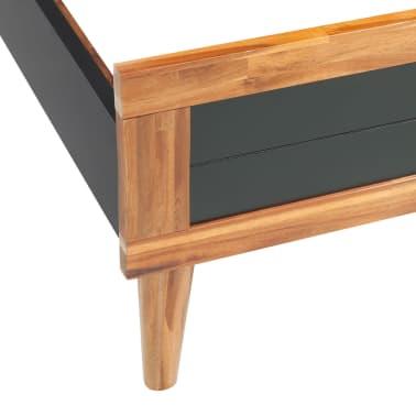 acheter vidaxl cadre de lit bois d 39 acacia massif 200 x 180 cm noir pas cher. Black Bedroom Furniture Sets. Home Design Ideas