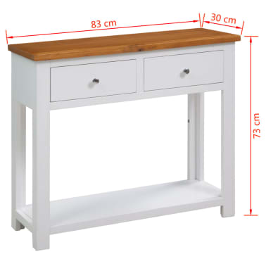 "vidaXL Console Table 32.7""x11.8""x28.7"" Solid Oak Wood[6/6]"