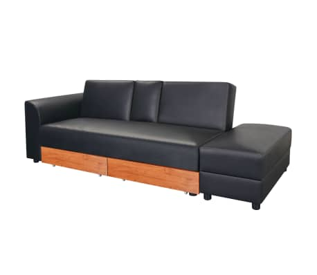 vidaxl schlafsofa kunstleder schwarz g nstig kaufen. Black Bedroom Furniture Sets. Home Design Ideas