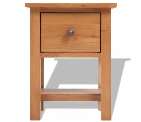 vidaXL Nightstand 36x30x47 cm Solid Oak Wood[2/6]