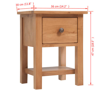 vidaXL Nightstand 36x30x47 cm Solid Oak Wood[6/6]