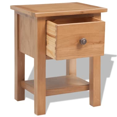 vidaXL Nightstand 36x30x47 cm Solid Oak Wood[4/6]
