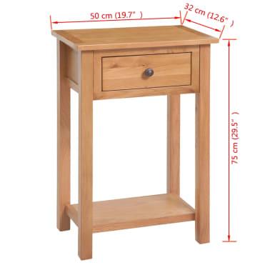 "vidaXL Console Table Solid Oak Wood 19.7""x12.6""x29.5"" Brown[6/6]"