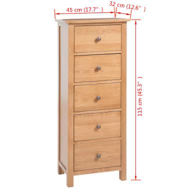 vidaXL Armoire avec tiroirs 45 x 32 x 115 cm Bois de chêne massif[7/7]