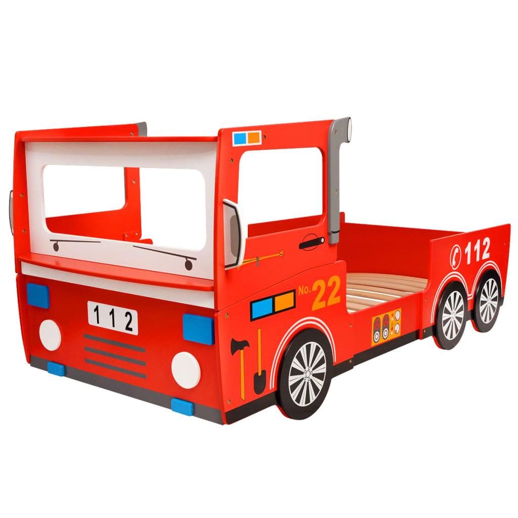 vidaXL Pat pentru copii, model mașină pompieri LED, 200 x 90 cm, roșu vidaxl.ro