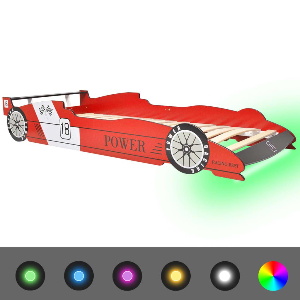 vidaXL Κρεβάτι Παιδικό Αγωνιστικό Αυτοκίνητο με LED Κόκκινο 90×200 εκ.
