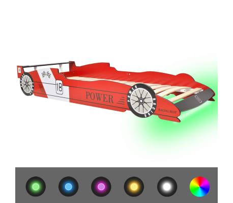 vidaXL bērnu gulta ar LED, sacīkšu mašīnas dizains, 90x200 cm, sarkana