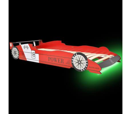 vidaXL Vaikiška LED lova lenktyninė mašina, 90x200 cm, raudona[3/9]