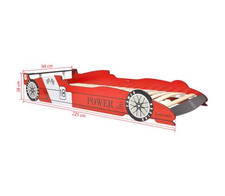 vidaXL Vaikiška LED lova lenktyninė mašina, 90x200 cm, raudona[9/9]