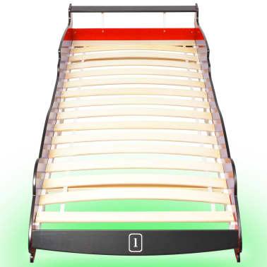 vidaXL Vaikiška LED lova lenktyninė mašina, 90x200 cm, raudona[4/9]