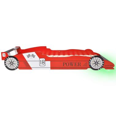 vidaXL Vaikiška LED lova lenktyninė mašina, 90x200 cm, raudona[6/9]