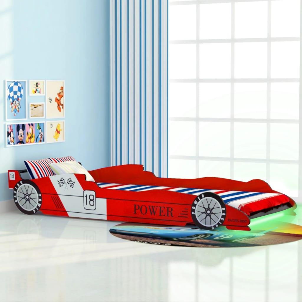 vidaXL Pat pentru copii mașină de curse, cu LED, 90 x 200 cm, roșu vidaxl.ro