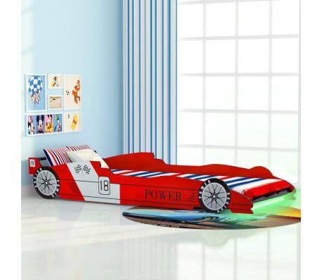 vidaXL Vaikiška LED lova lenktyninė mašina, 90x200 cm, raudona[1/9]