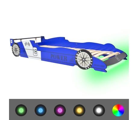 vidaXL Cama carro de corrida LED para crianças 90x200 cm azul