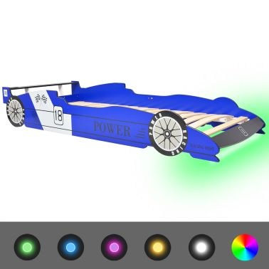 vidaXL Vaikiška LED lova lenktyninė mašina, 90x200 cm, mėlyna[2/9]