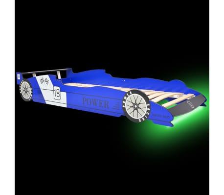 vidaXL Dječji Krevet LED Trkaći Auto 90x200 cm Plavi[3/9]