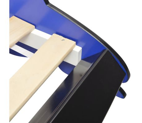 vidaXL Vaikiška LED lova lenktyninė mašina, 90x200 cm, mėlyna[7/9]
