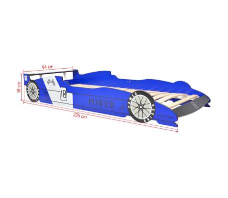 vidaXL Dječji Krevet LED Trkaći Auto 90x200 cm Plavi[9/9]