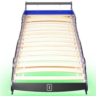 vidaXL Vaikiška LED lova lenktyninė mašina, 90x200 cm, mėlyna[4/9]