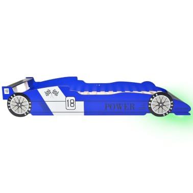 vidaXL Vaikiška LED lova lenktyninė mašina, 90x200 cm, mėlyna[5/9]