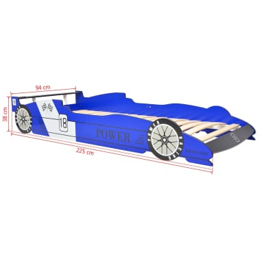 vidaXL Vaikiška LED lova lenktyninė mašina, 90x200 cm, mėlyna[9/9]