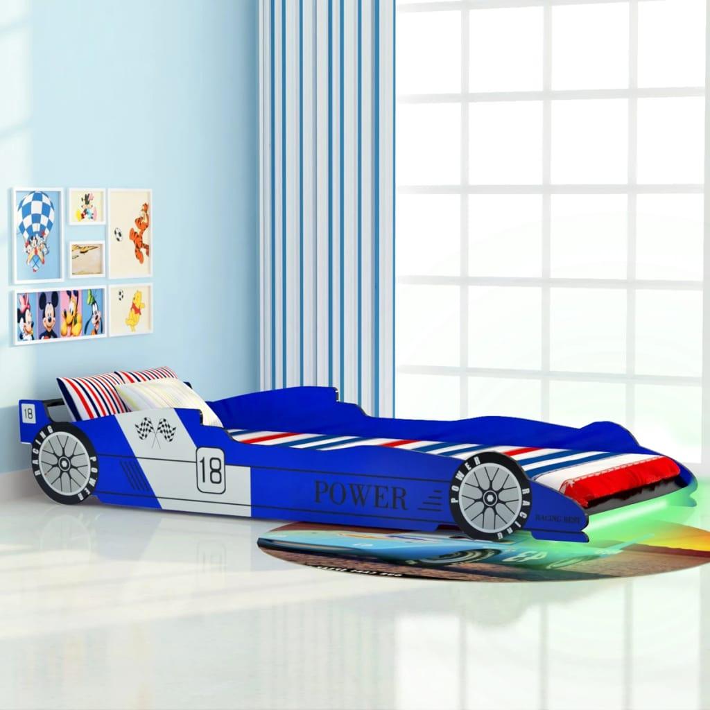 Dětská LED postel závodní auto, 90x200 cm, modrá