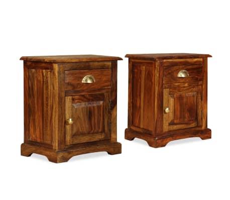 acheter vidaxl table de chevet 2 pcs bois massif de sesham 40 x 30 x 50 cm pas cher. Black Bedroom Furniture Sets. Home Design Ideas