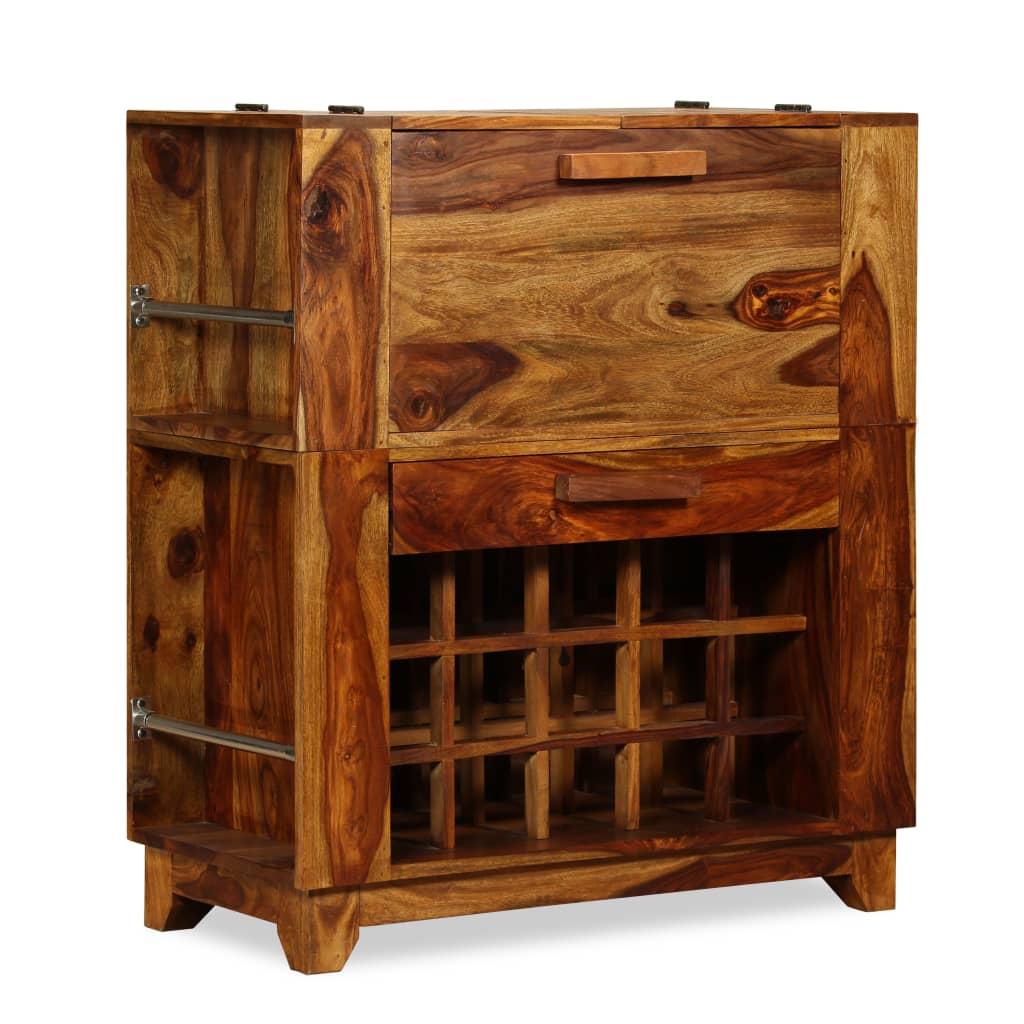 vidaXL Dulap bar din lemn masiv de sheesham, 85 x 40 x 95 cm poza vidaxl.ro