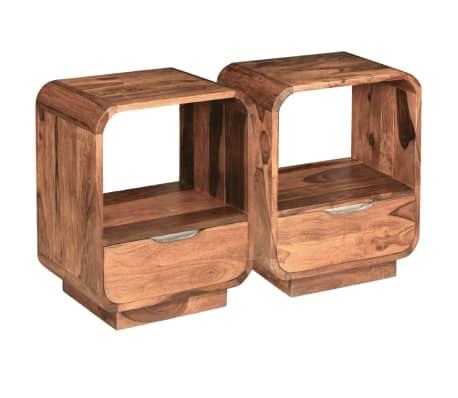 vidaXL Table de chevet avec tiroir Bois de Sesham 40 x 30 x 50 cm[2/9]