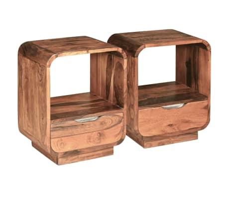 vidaXL Table de chevet avec tiroir Bois de Sesham 40 x 30 x 50 cm[4/9]