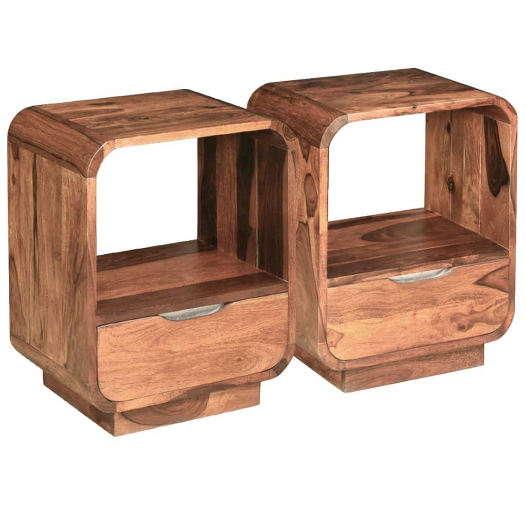 vidaXL Nattbord med skuff 2 stk massivt indisk rosentre 40x30x50 cm