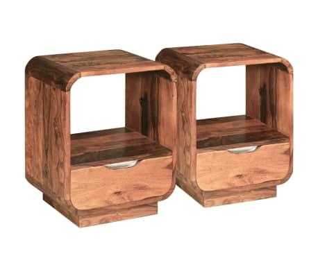 vidaXL Table de chevet avec tiroir 2 pcs Bois de Sesham 40 x 30 x 50cm[4/9]