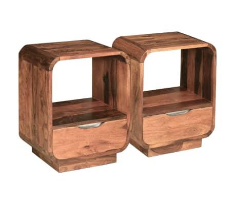 vidaXL Table de chevet avec tiroir 2 pcs Bois de Sesham 40 x 30 x 50cm[5/9]