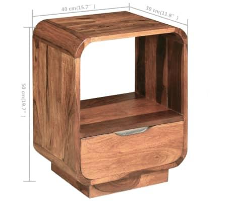 vidaXL Table de chevet avec tiroir 2 pcs Bois de Sesham 40 x 30 x 50cm[9/9]