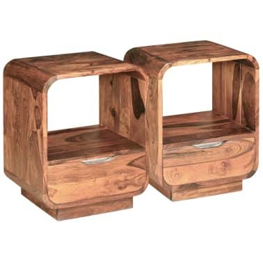 vidaXL Table de chevet avec tiroir 2 pcs Bois de Sesham 40 x 30 x 50cm[2/9]