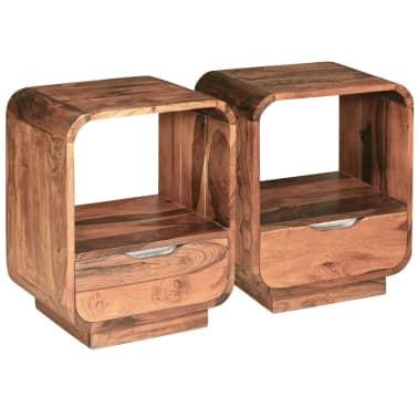 vidaXL Table de chevet avec tiroir 2 pcs Bois de Sesham 40 x 30 x 50cm[3/9]