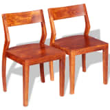 vidaXL Dining Chairs 2 pcs Solid Acacia Wood Sheesham
