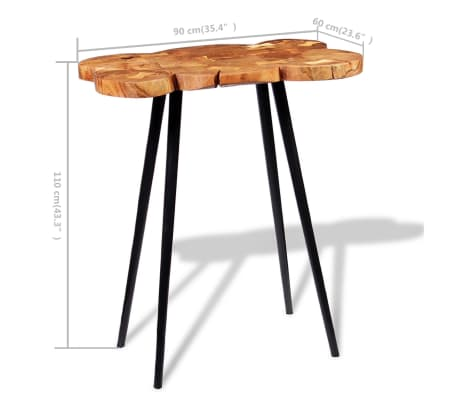 vidaXL Log Bar Table Solid Acacia Wood 90x60x110 cm[9/9]