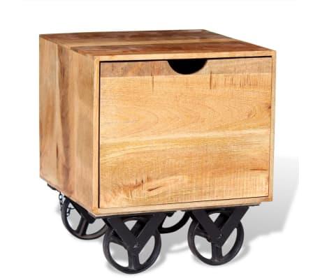 vidaXL Masă laterală cu sertar și roți, lemn de mango 40 x 40 x 45 cm