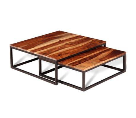 acheter vidaxl ensemble de table basse gigogne 2 pcs bois massif de sesham pas cher. Black Bedroom Furniture Sets. Home Design Ideas